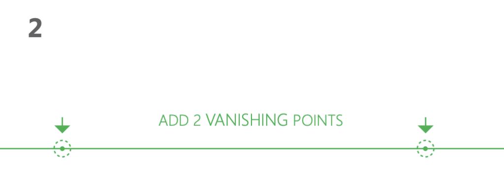 how to draw a cube 2-point perspective - Step 2 draw the vanishing points