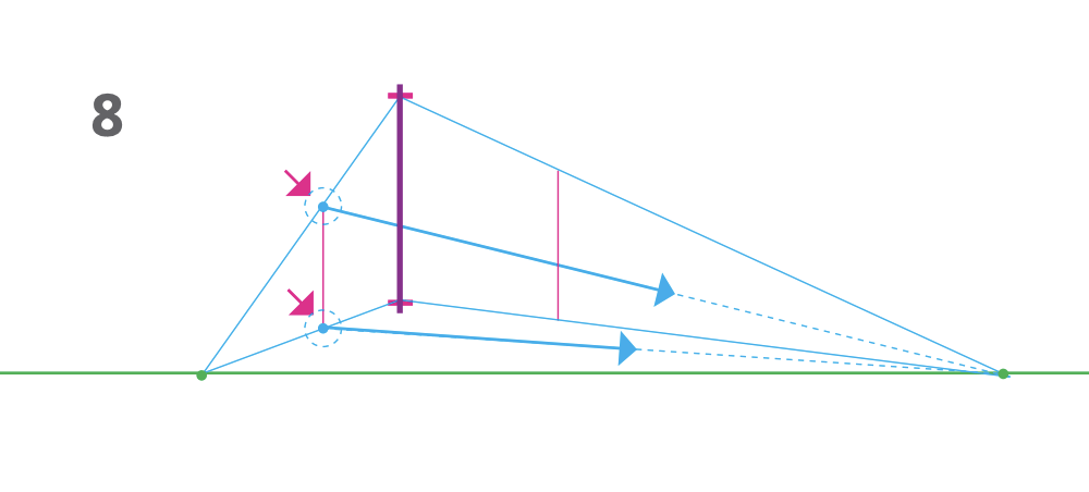 how to draw a cube 2-point perspective - Step 8 converging line to left