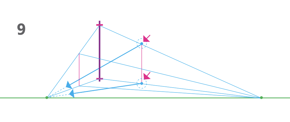 how to draw a cube 2-point perspective - Step 9 converging line to right