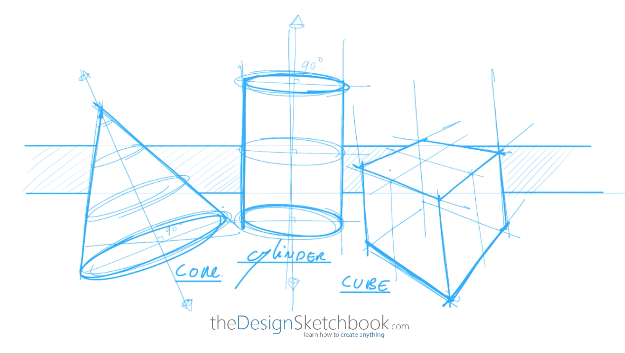 How to draw basic 3d volumes - cone - cube - cylinder - the design sketchbook - a