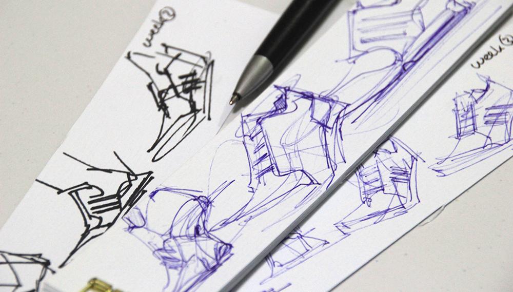 Adidas sneaker ball point pen design sketching the design sketchbook Chou-Tac Chung c