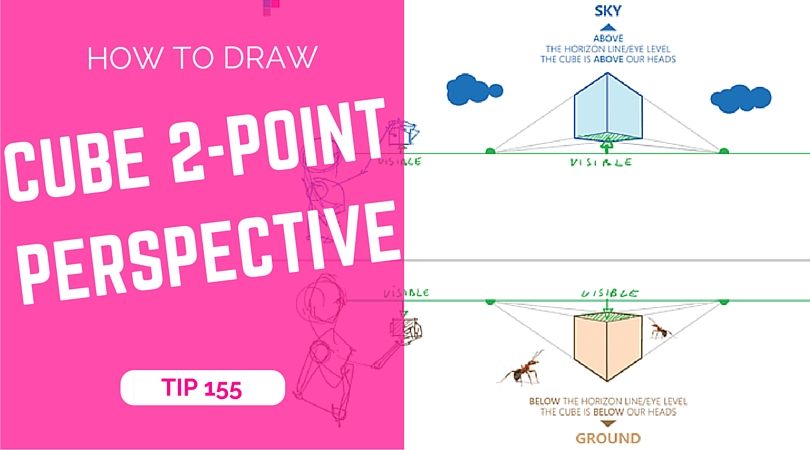 How to draw a cube with 2-point perspective | TIP 155 | VIDEO