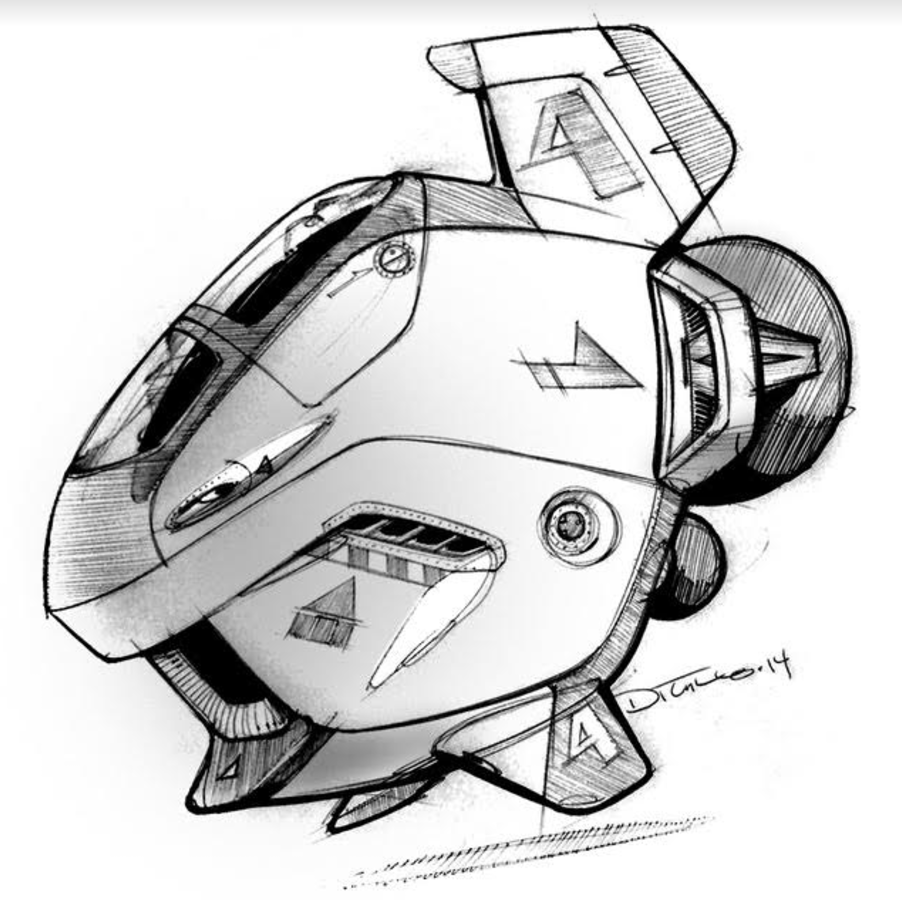 Michael DiTullo Design Sketching Sketchbook Concept Art flying engine