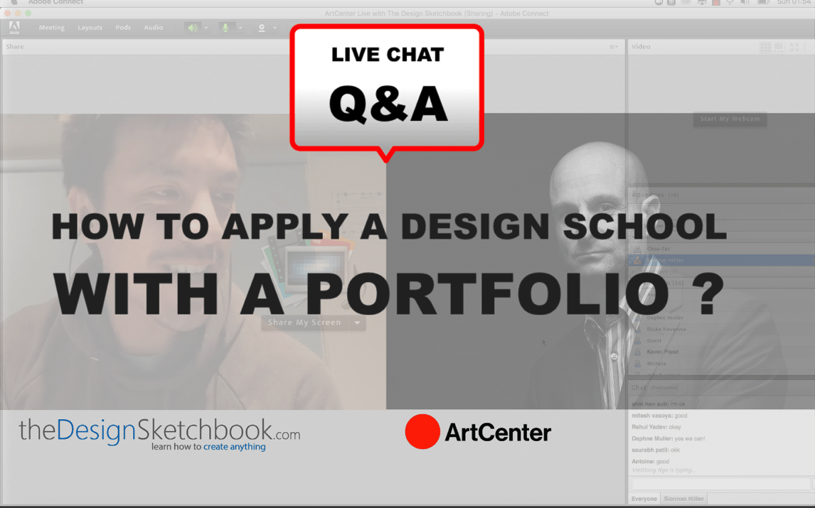 Portfolio application for Design school // with Art Center LIVE Q&A CHAT // Take some notes !!
