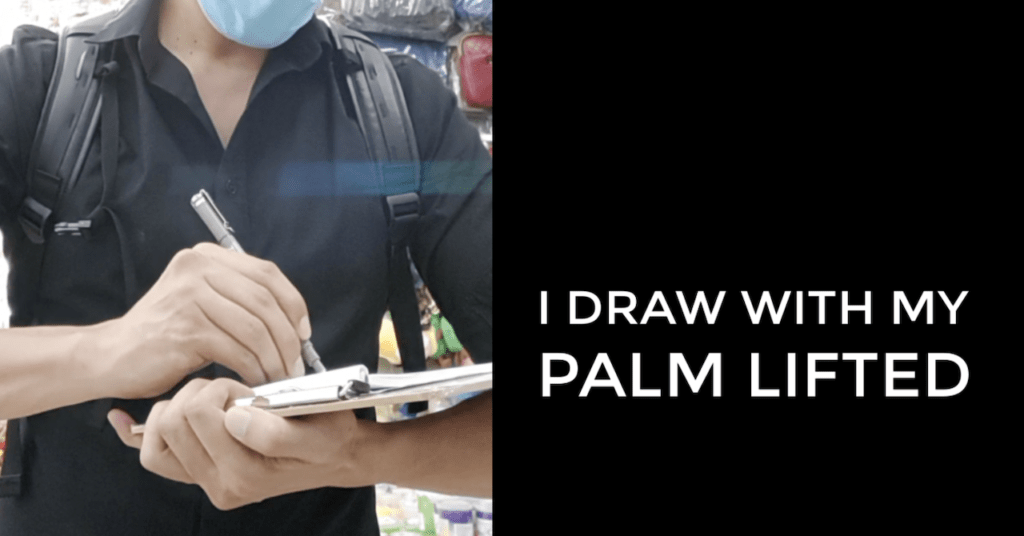 draw with palm lifted