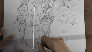 how to draw a body - character design sketching - gravity line