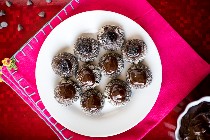 Double Chocolate Cherry Thumbprint Cookies