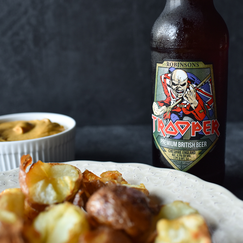 Iron Maiden Trooper Beer Review with Fried Potatoes and Curry Mayo Food Pairing