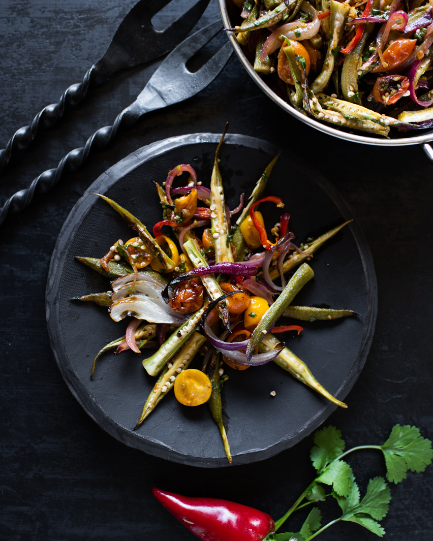 Roasted Okra with Cherry Tomatoes