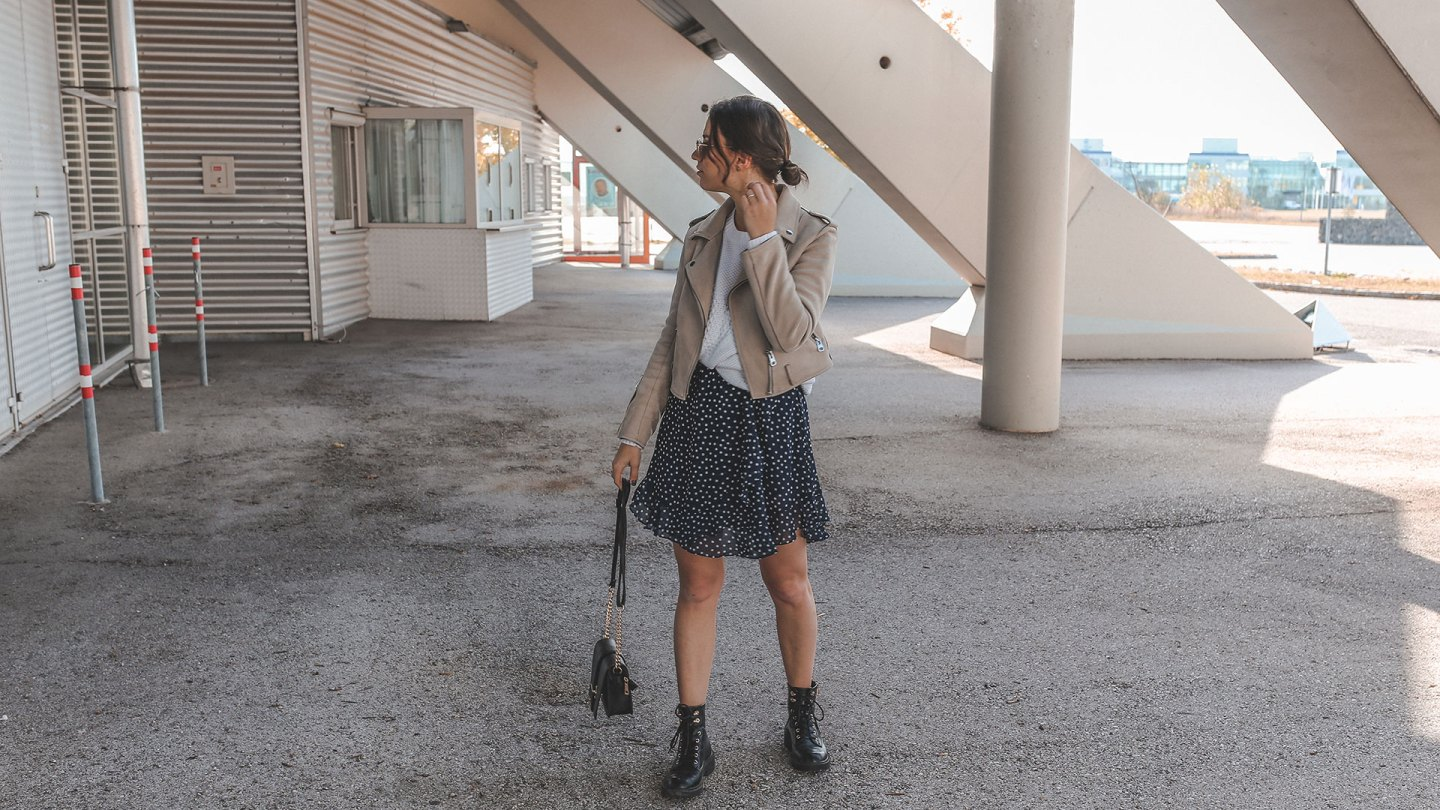 Polka Dot Dress, Sweater & Boots – Autumn Trend