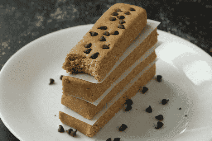 Homemade Peanut Butter Protein Bars on a plate