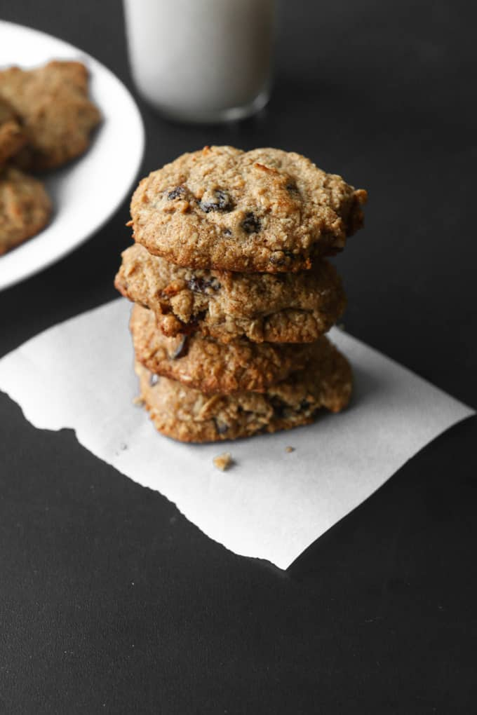 oatmeal raisin cookies stacked on top of each other