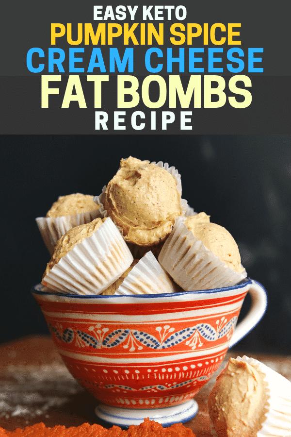 Easy keto pumpkin spice cream cheese fat bombs in a dish!