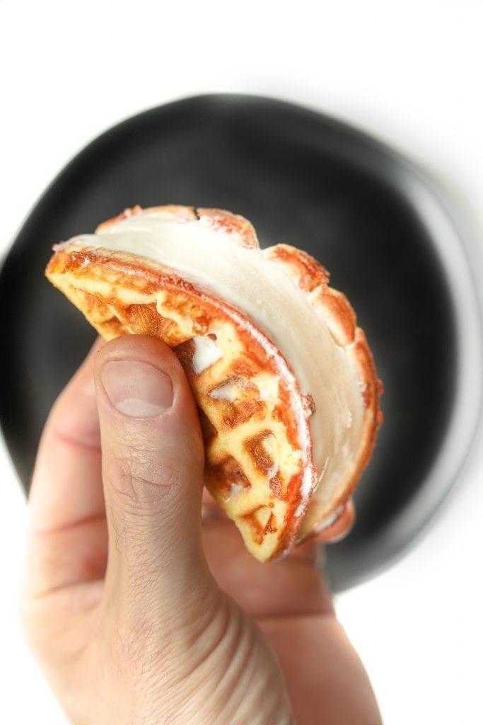 A Sweet Chaffle Vanilla Ice Cream Sandwich
