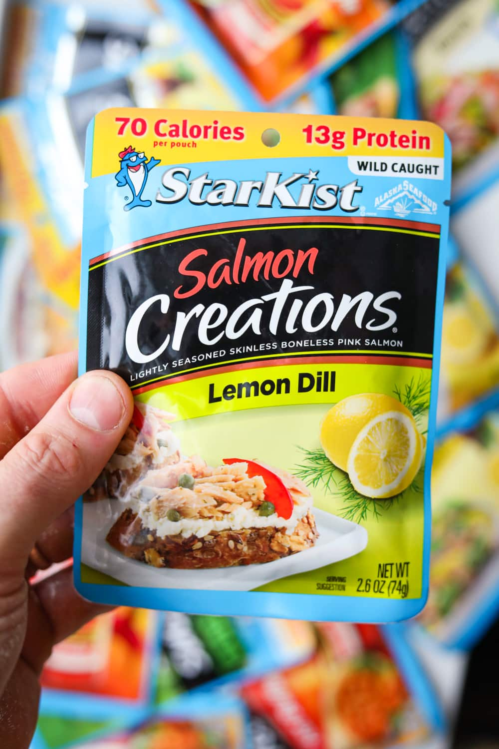 The front side of a Starkist Salmon Lemon Dill Creations Packet.