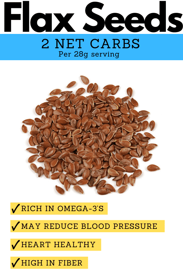 A pile of flax seeds, and a description of why they're a great low carb keto seed option.