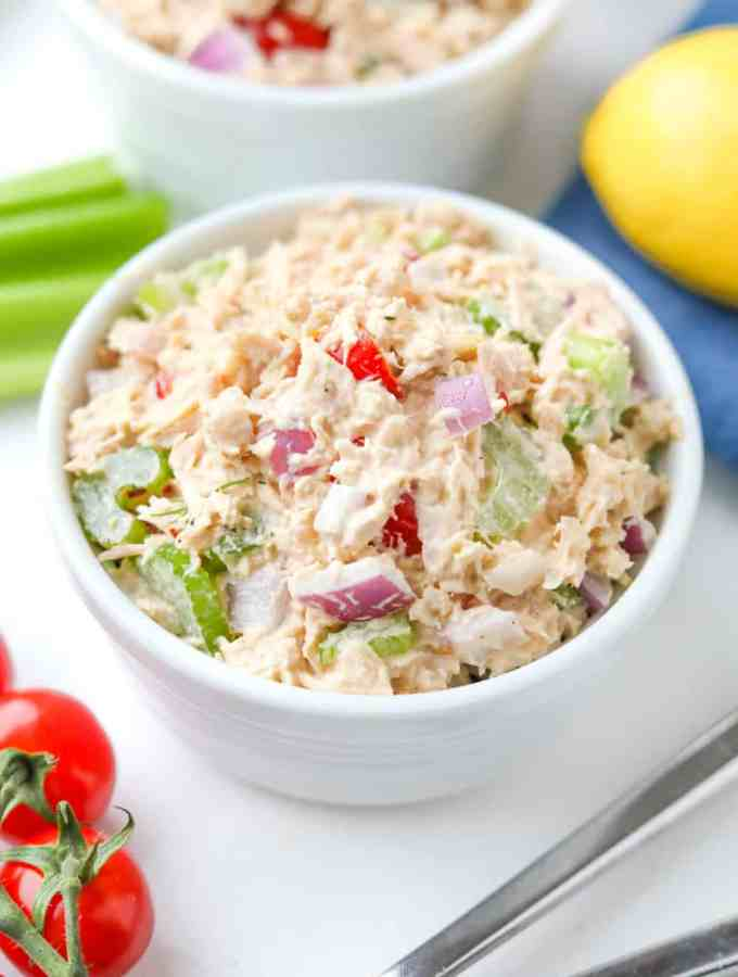 Keto tuna salad in a bowl.