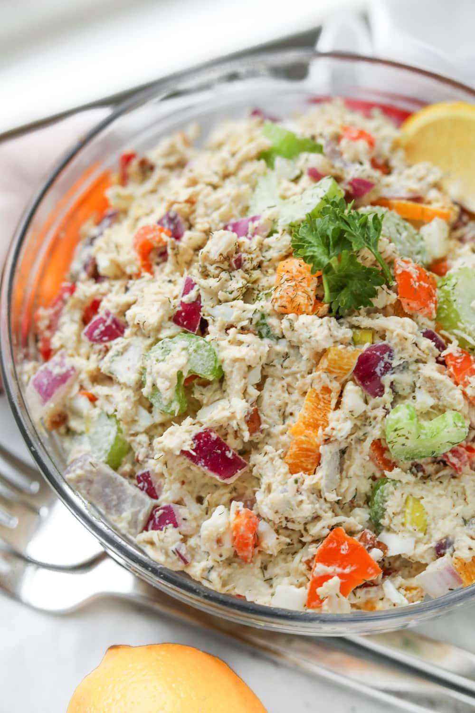 A bowl full of keto chicken salad.