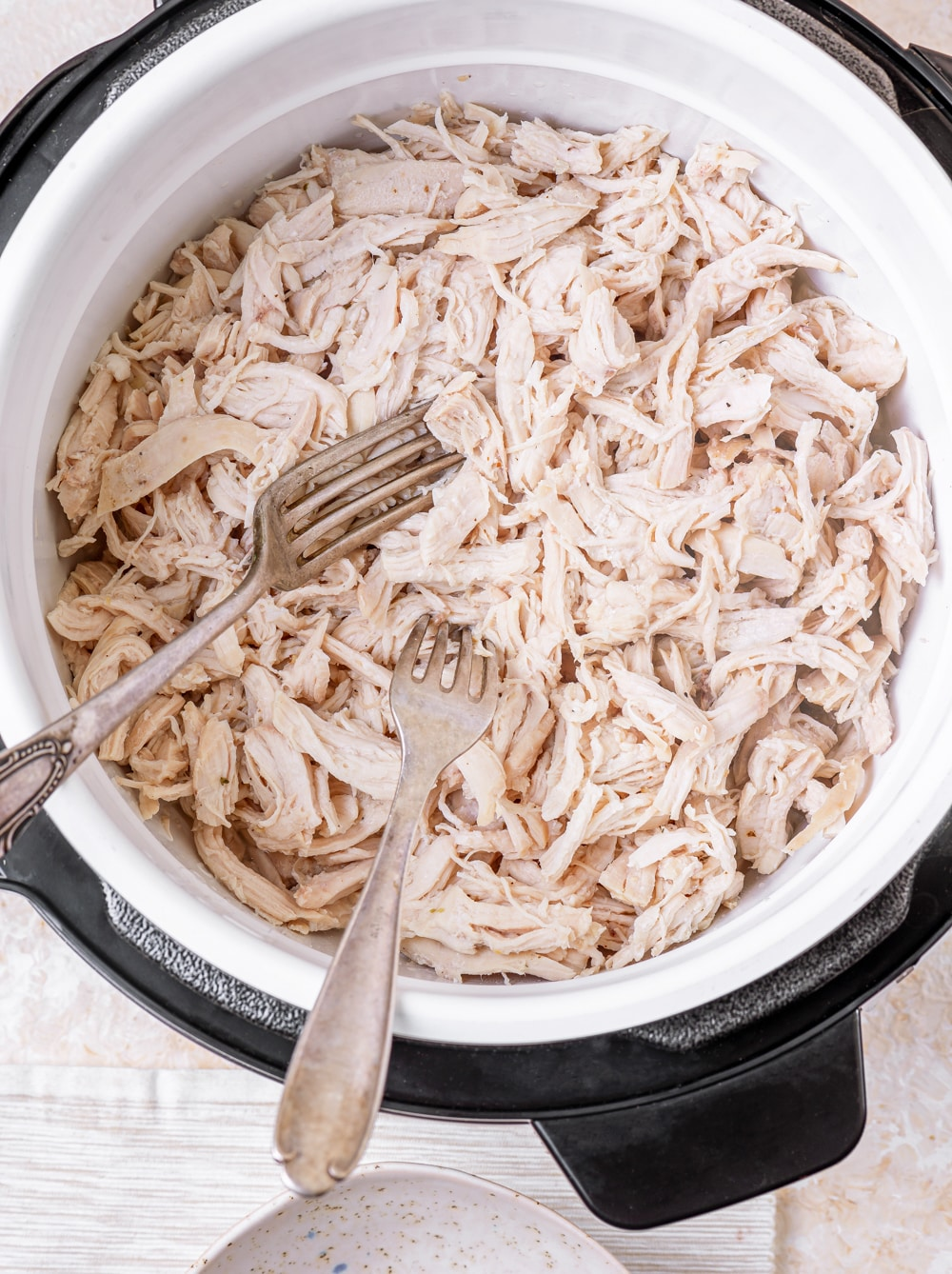 Shredded chicken breasts in an Instant Pot.