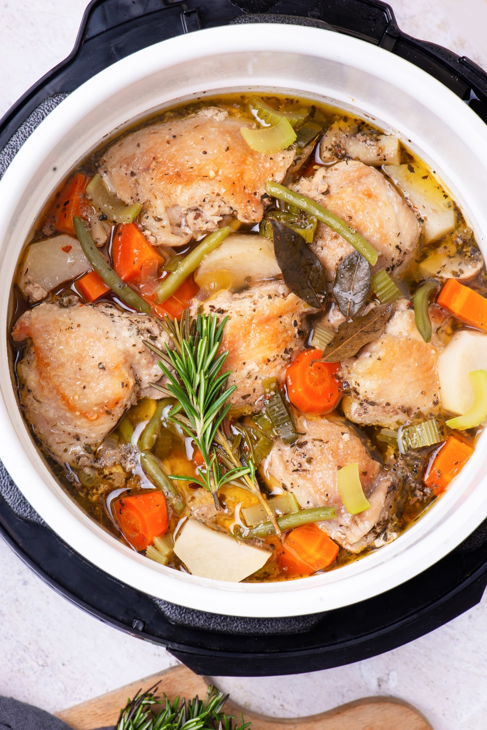 Chicken stew that has been cooked in an Instant Pot.