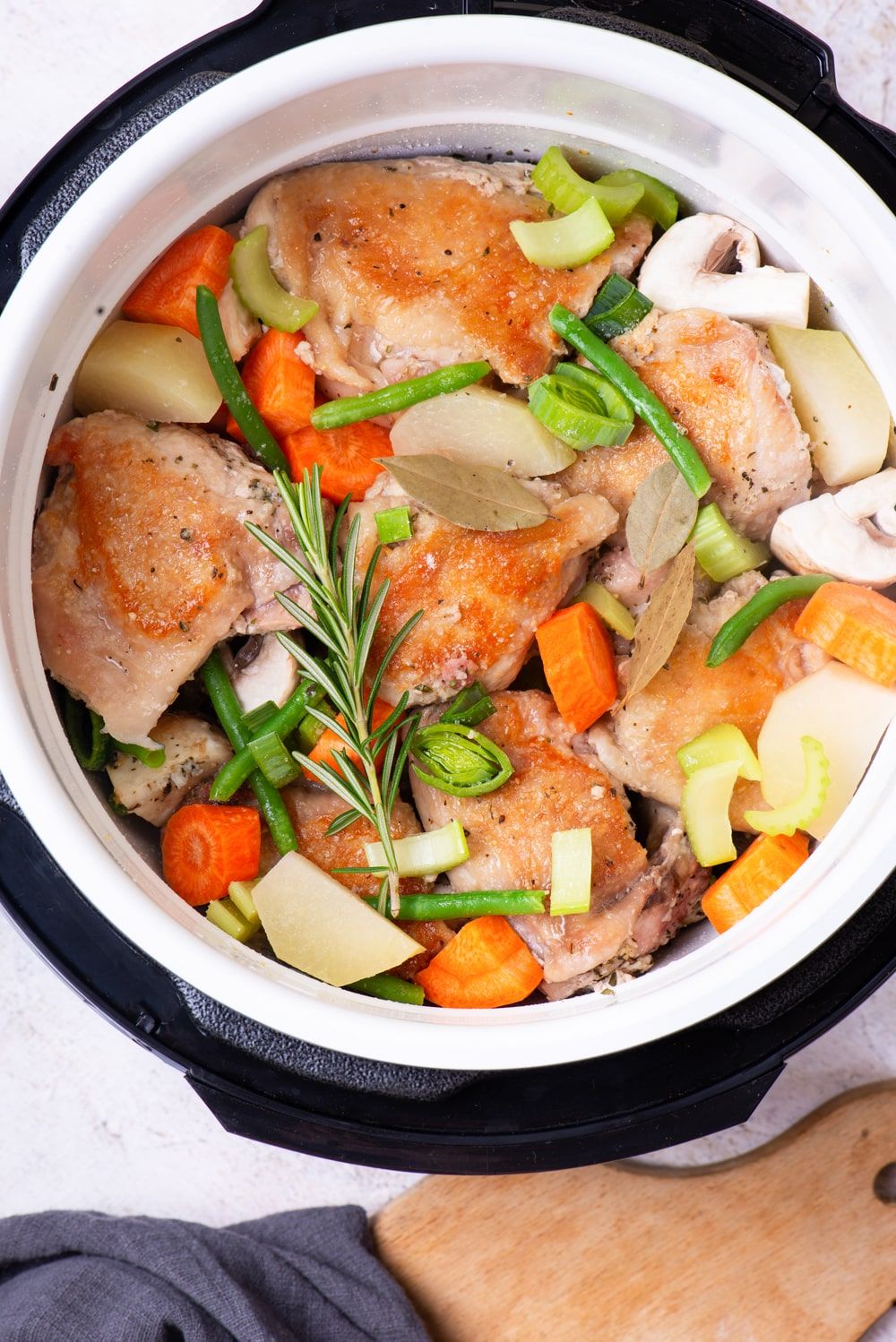 Chicken stew about to be cooked in an Instant Pot.