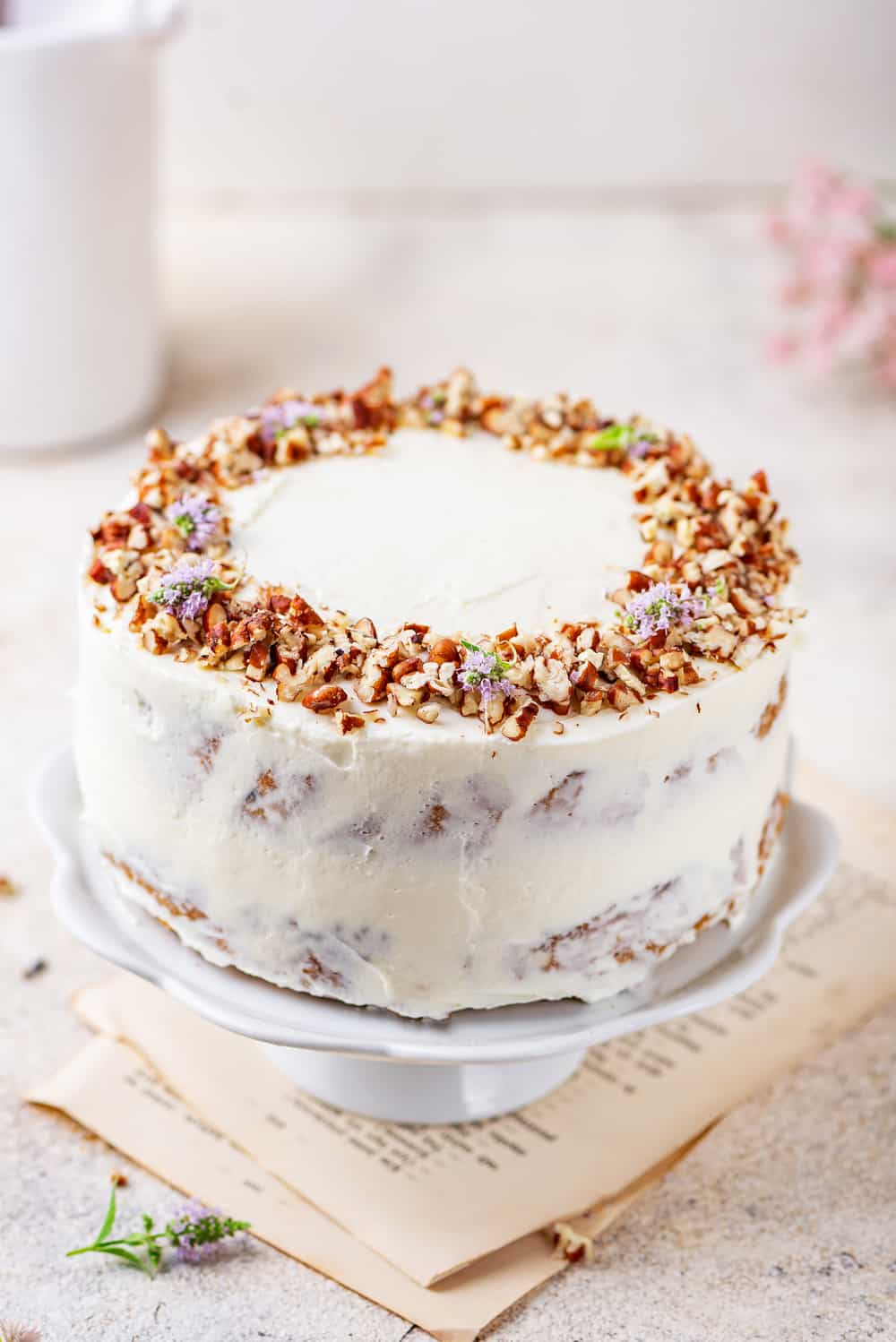 Carrot cake on a white cake tray