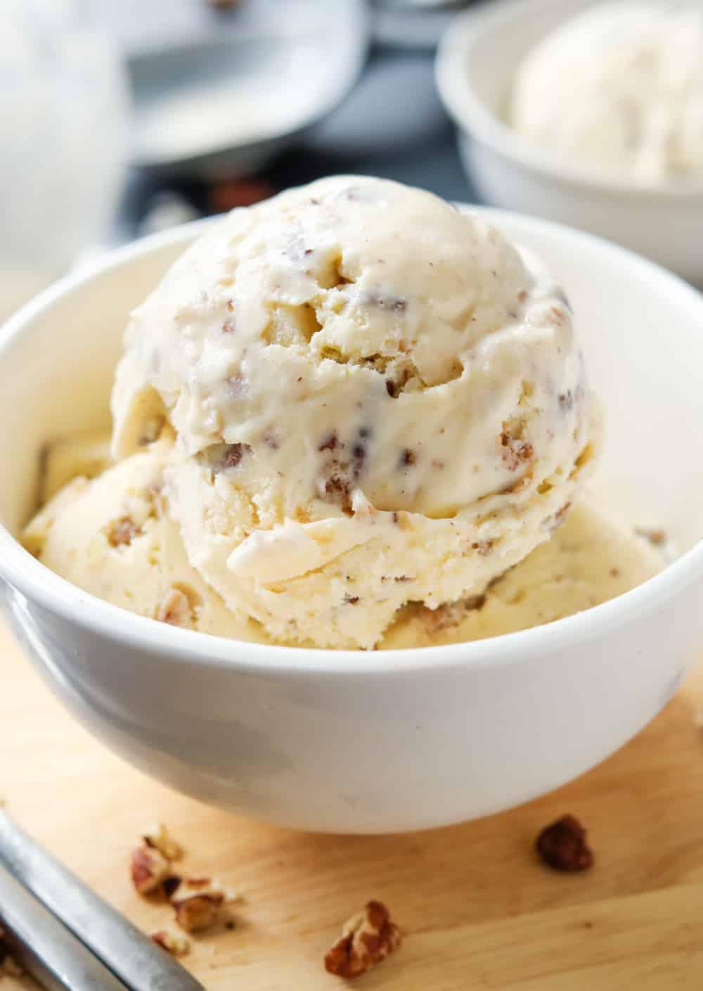 Ice cream in a white bowl.