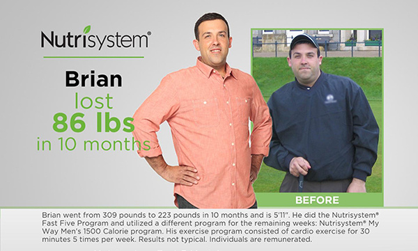 Brian Lost Weight 86 Pounds on Nutrisystem for Men | DIETSiTRIED