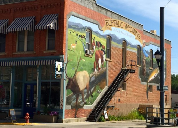 Large Artist Murals on the Historical Buildings in downtown Buffalo WY