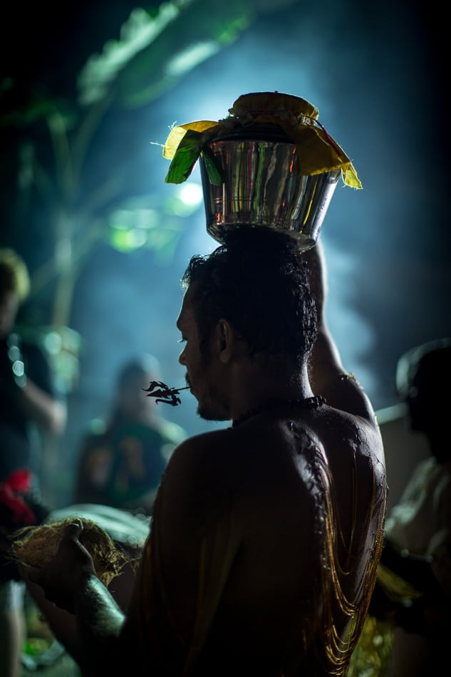 A devotee with his Pal Kavadi is ready for his walk to begin.