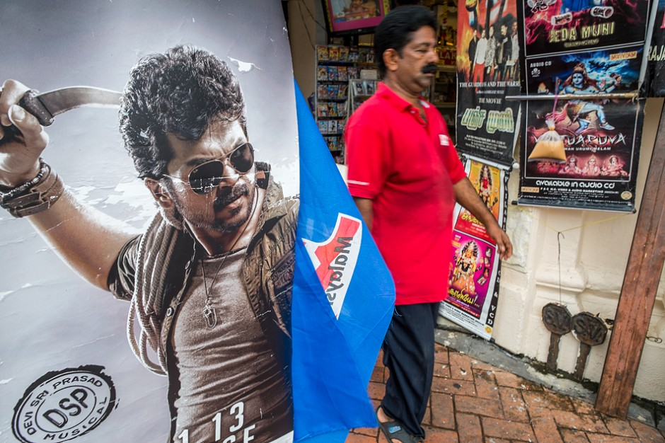 "A poster for the Tamil movie ""Alex Pandian"" on the streets of Georgetown, Penang. Will violence will it's violence stay on the screen?"