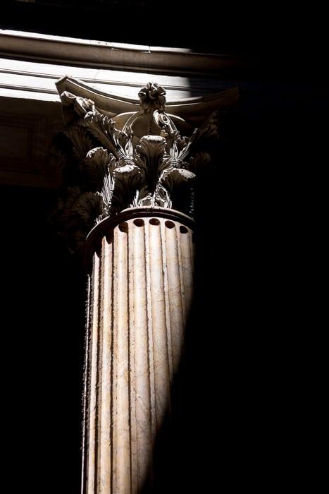 Light hitting a piller collum the Roman Pantheon.
