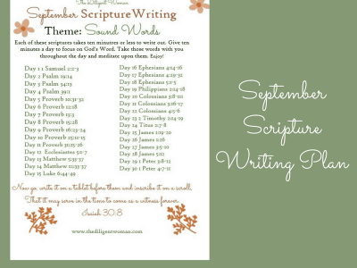 September Scripture Writing – Sound Words