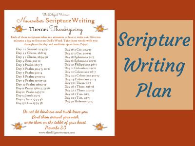 November Scripture Writing – Gratitude
