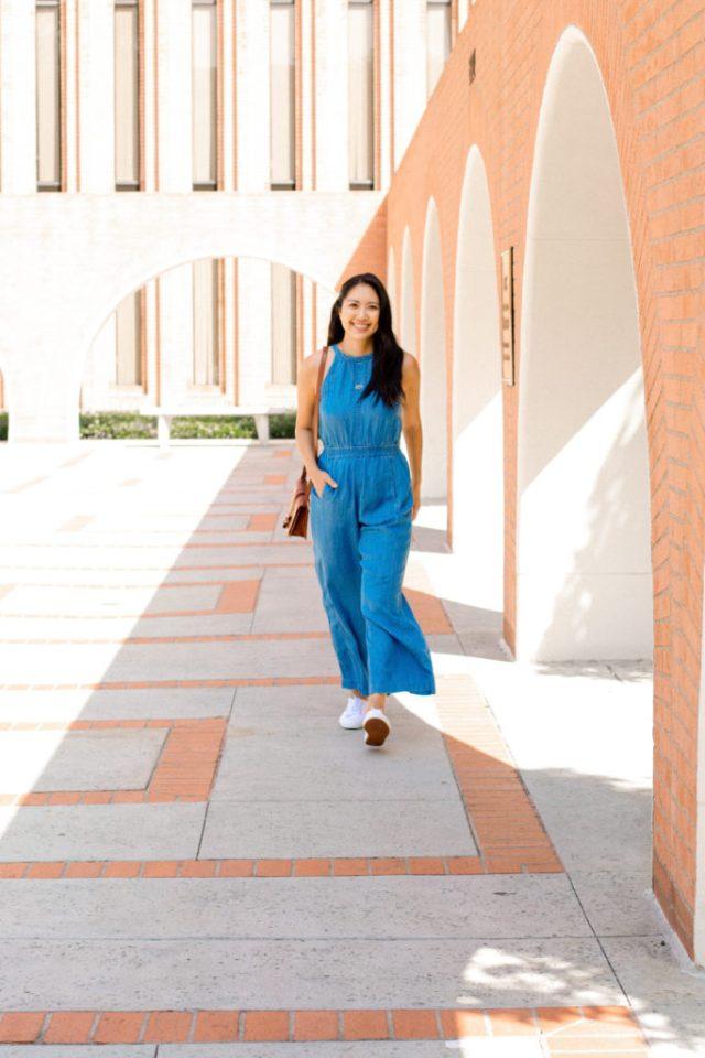 Walking in blue jumper