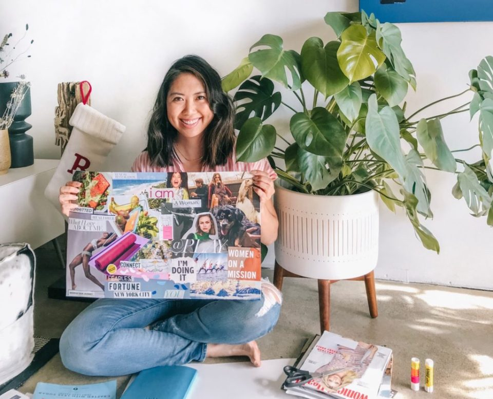 How to create a vision board to manifest your dreams. Learn how vision boards can create positive change in your life. #manifestation #TheDimpleLife #intentionsetting #visionboard