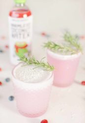 Festive Coconut Water Drink | If you are looking for a cute pink drink, this is it! Here is a recipe for a coconut water based non-alcoholic drink. No hangover but still 100% fun! | The Dimple Life #thedimplelife #pinkdrink #vegan #glutenfree