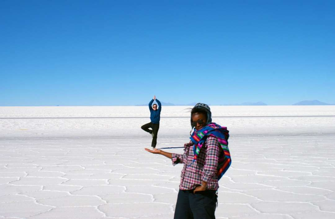 Playing with perspective on the Salar de Uyuni