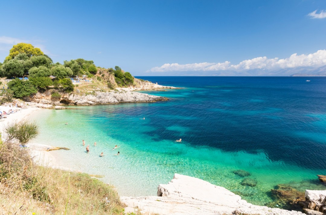 amazing beach in Kassiopi on Corfu island, Greece