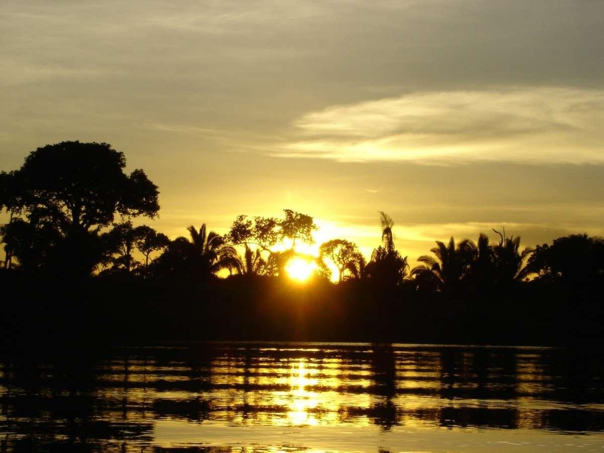 Sunset over the Amazon Rainforest