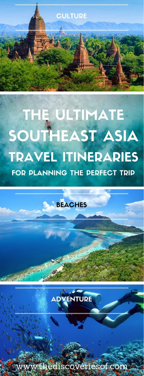 Three awesome Southeast Asia travel itineraries to help you plan the perfect trip. Read the full travel guide now #travel #backpacking Photography I Itinerary I Landscape I Food I Architecture I Laos I Thailand I Cambodia I Myanmar I Malaysia I Vietnam.