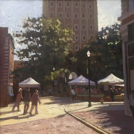 Union Ave Farmers Market, oil on canvas, 30 x 30 inches