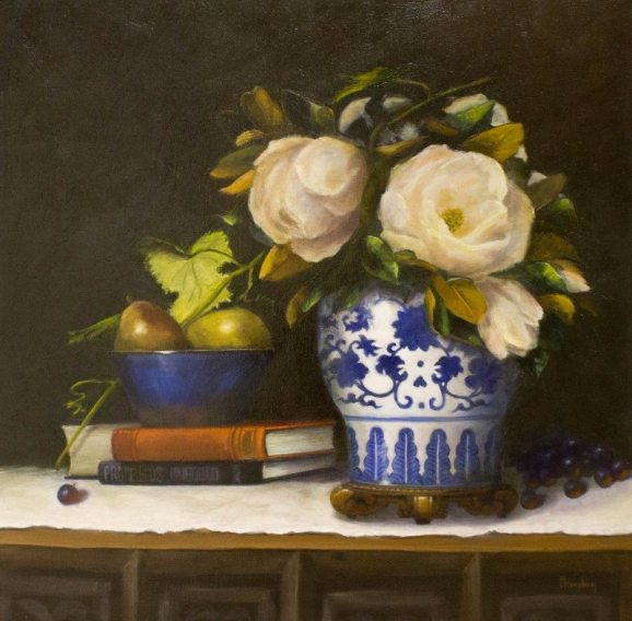 Nancy Lloyd-Hooker, Magnolias & Imperial, oil on canvas, 24 x 24 in.