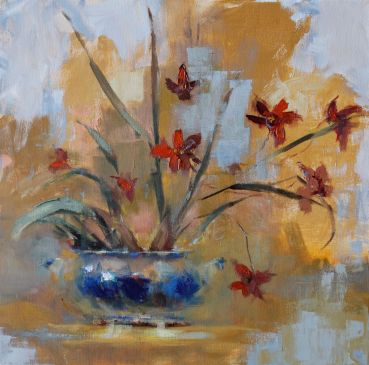 Tiger Orchids, oil on panel, 12 x 12 inches