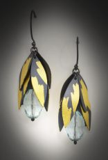 oxidized sterling silver, 24k gold leaf and aquamarine earring