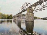 Rail Bridge, mixed media image transfer on panel, 6 x8 inches