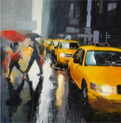 Taxis on Fifth, oil on canvas, 46 x 47 inches
