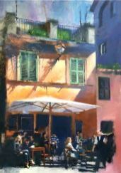 Trastevere Cafe, oil on canvas, 32 x 43 inches