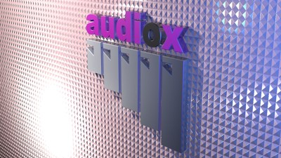 wide view of audiox logo pink and grey