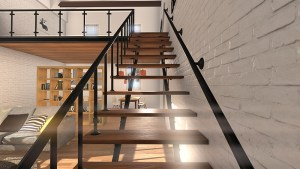 view of stairs from entrance 3d architectural smaller image